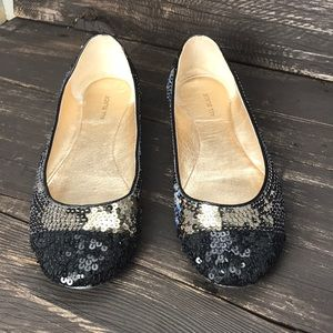 All Black Sequin Ballet Flats Size 37